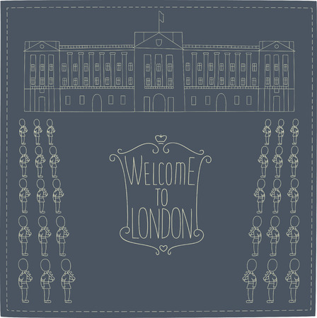 buckingham: Buckingham Palace.Hand drawn cartoon image of the palace and the royal guards.
