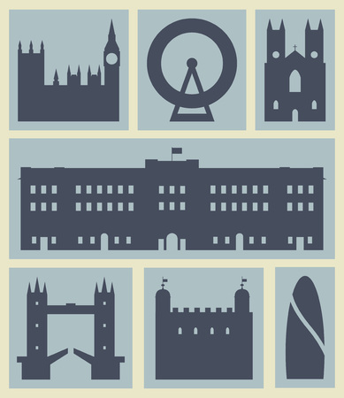 palace of westminster: London buildings.Icons.Set of Londons most famous buildings. Illustration