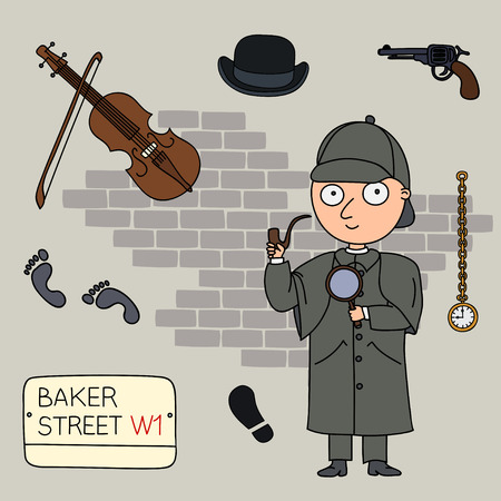 sherlock: Sherlock Holmes.Set of cartoon objects that are symbols of London.