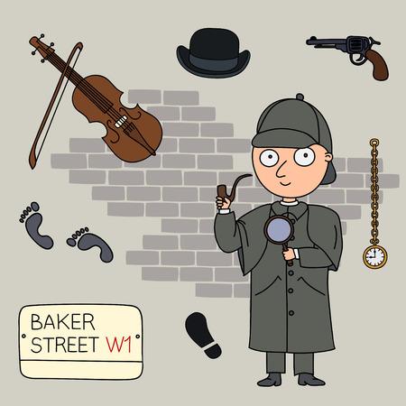 Sherlock Holmes.Set of cartoon objects that are symbols of London.