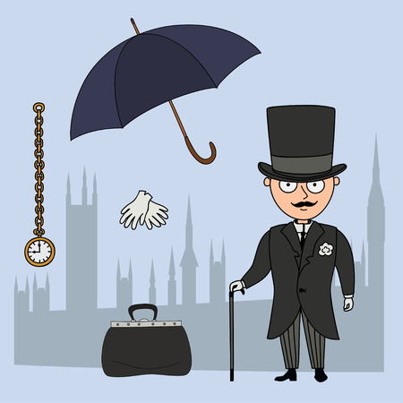 valise: Gentleman.Set of cartoon objects that are symbols of London.