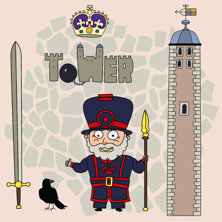 royal person: Beefeater.Set of cartoon objects that are symbols of London.