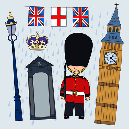 sentry: Guardsman.Set of cartoon objects that are symbols of London. Illustration