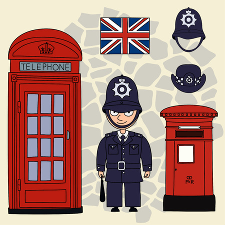 bobby: Policeman. Set of cartoon objects that are symbols of London.