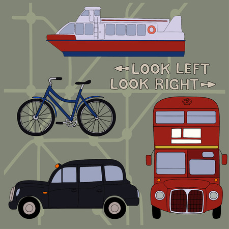 river cartoon: Transport.Set of cartoon objects that are symbols of London. Illustration