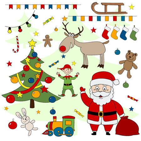 associated: Merry Christmas set. Set of objects associated with Christmas and New Year. Illustration