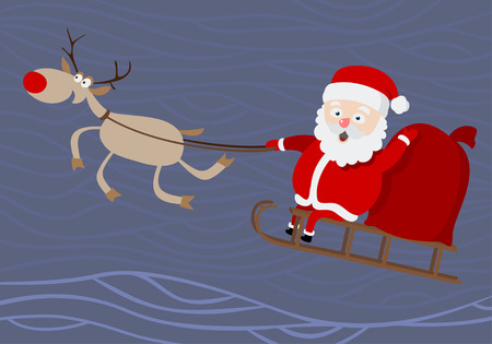 santa sleigh: Santa Claus. Cartoon image of Santa riding in a sleigh.