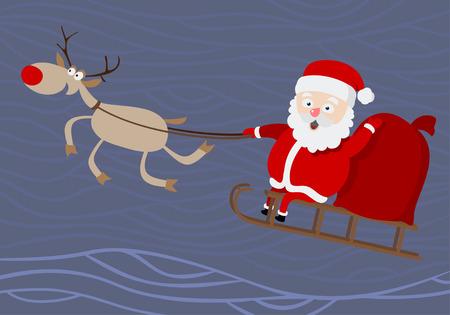 Santa Claus. Cartoon image of Santa riding in a sleigh.