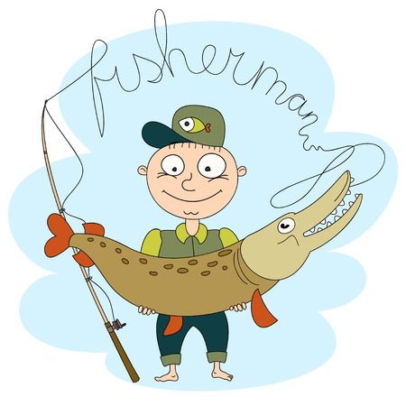 big fish: Fisherman.A man holds a big fish. Funny cartoon illustrations.