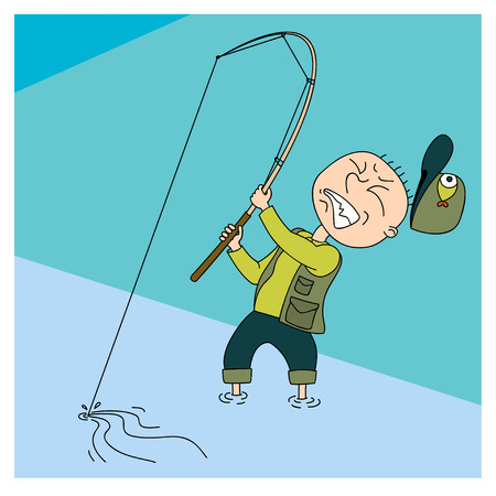 hardly: cartoon illustration of a man who drags the fish.