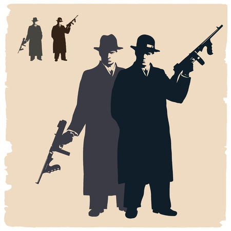 Two dark silhouettes of  gangsters. Illustration