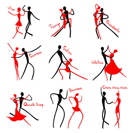 Icon set of stick figures dancing ballroom dances.