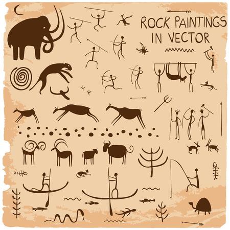pintura rupestre: Conjunto de pinturas de la roca en el vector.