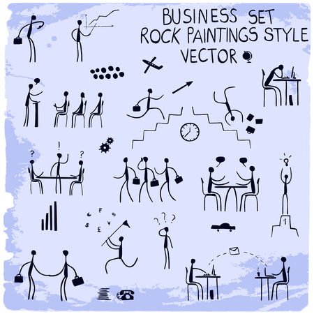Business icon set in rock paintings style.