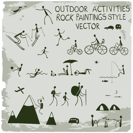 family hiking: Outdoor activities. Stick figures icon set. Illustration