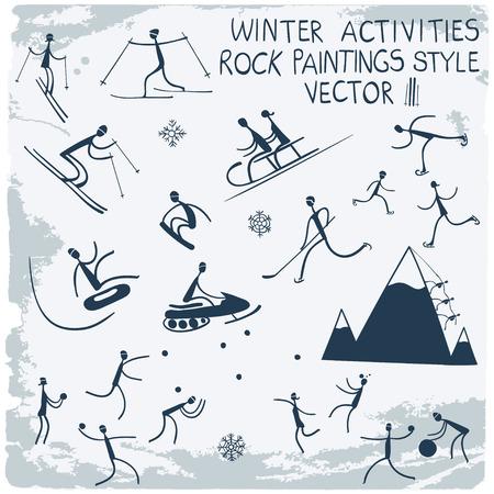 icono deportes: Las actividades de invierno. Figuras de palo icono conjunto. Vectores