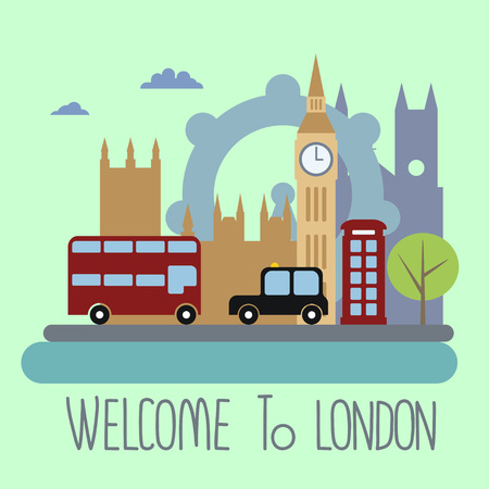 large doors: London city, flat  design concept.