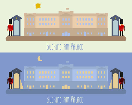 london night: London.Buckingham Palace in flat icons design concept.