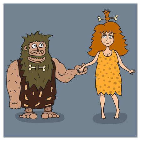 hombre prehistorico: El hombre prehistórico y mujer tomados de la mano.