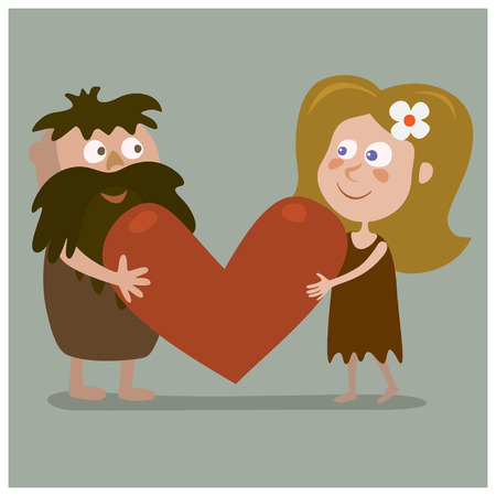 Lovers cave man and a woman holding a big heart.Cartoon illustration.