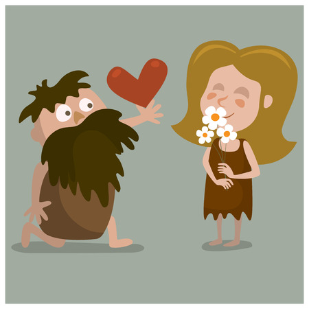 to confess love: Cave man confesses his love. Cartoon illustration.