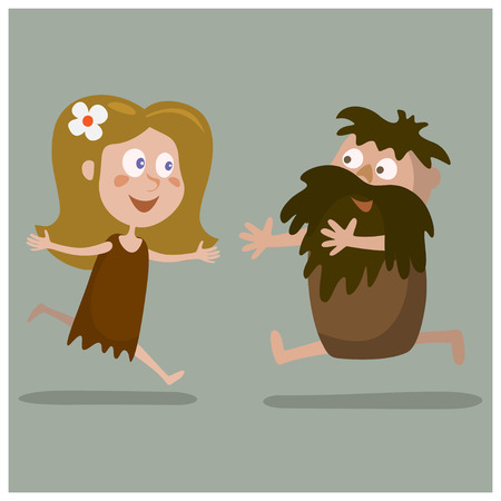 towards: Lovers cave man and a woman running towards each other.Cartoon illustration.