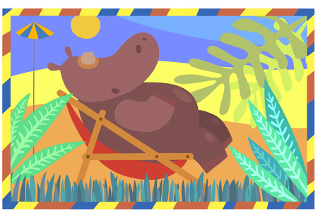 daybed: Cool Hippo resting on a sun lounger. Illustration