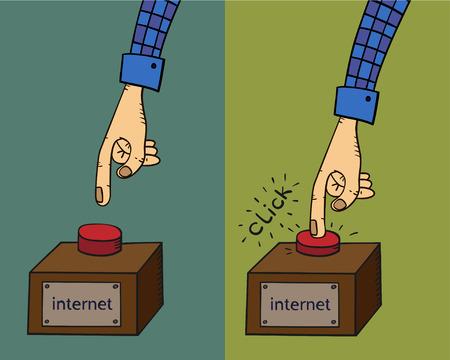 Cartoon hand clicks the red button.