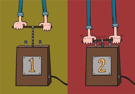 detonator: Cartoon hands push detonator lever.