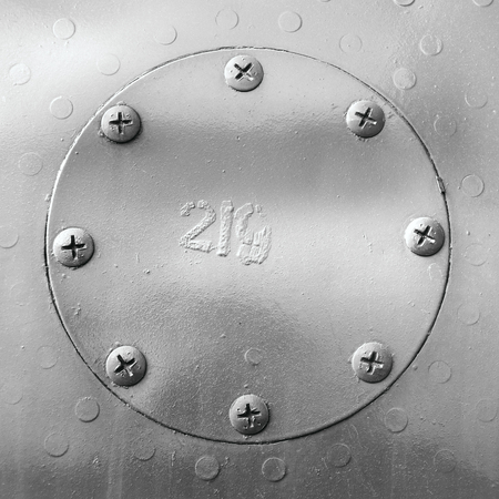 the hatch: Metal texture. Aluminium hatch with rivets.