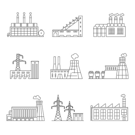 power station: Industry and energy. Thin line icon set.