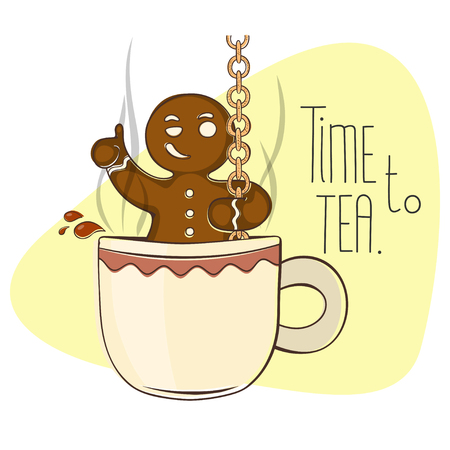 snack time: Gingerbread man descends into a cup of hot tea.Cartoon illustration.