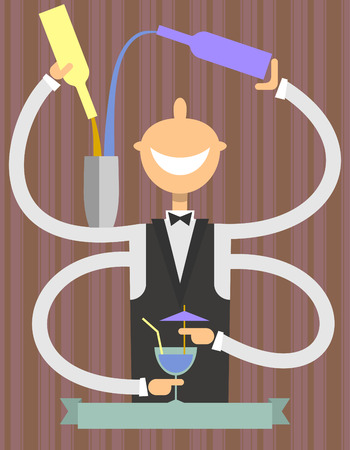 barman: Artful barman prepares cocktails.Flat design.