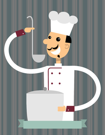 Pretty chef with a ladle and a pan of soup.Flat design. Illustration