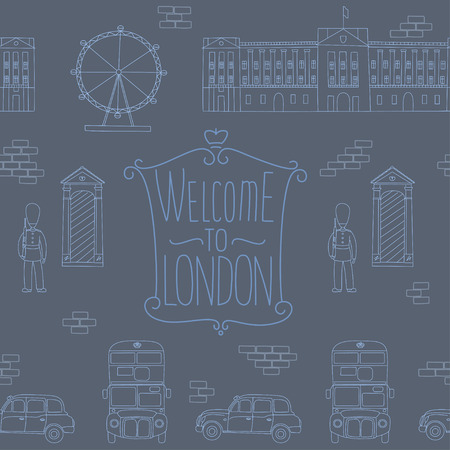 Seamless pattern with London symbols elements.