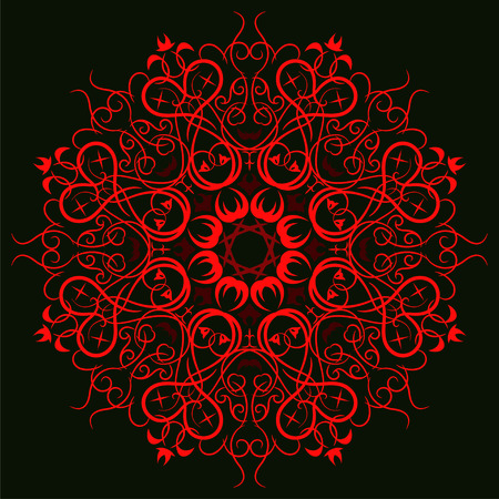 The symmetrical circular pattern. Red mandala.