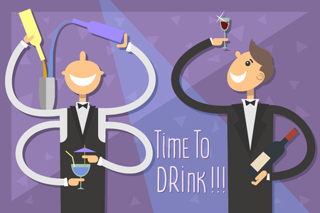 sommeliers: Time to drink.The bartender and sommeliers are invited to enjoy some alcohol.