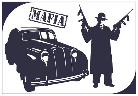 murderer: Dark silhouette of a gangster with guns near a car. Mafia.