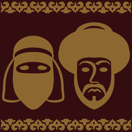 asian family: Traditional muslim couple. Vector illustration.