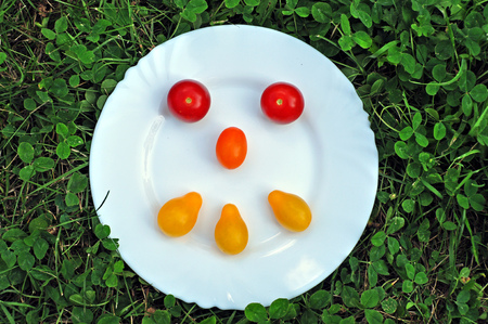 Smiley  made of yellow and red fresh tomatoes on a round white plate in the grass.