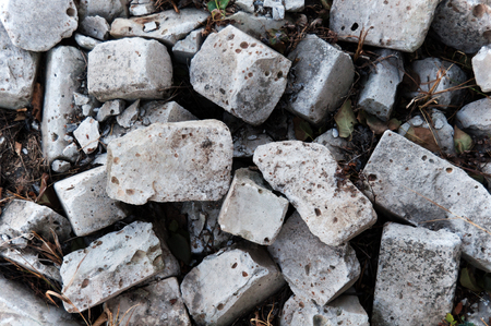 pile of old broken bricks top view for texture, background, text or image Stock Photo