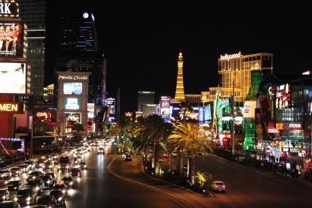 night shot of sin city - las vegas Editorial