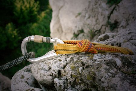 carabiner: Carabiner which protect a climbing