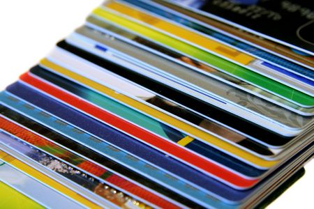 bankcard: Colorful credit card on a light background Stock Photo