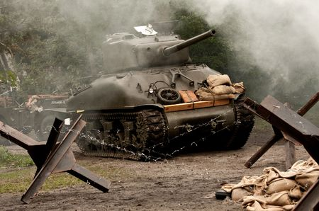 military invasion: American tank Sherman M41A GRIZZLI from WW II