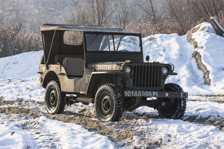 allied: Willys Jeep. Military vehicle used in Second World War made in America