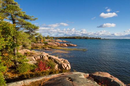 granite park: Red granite rock formation at Georgian Bay Killarney Provincial Park Ontario Canada