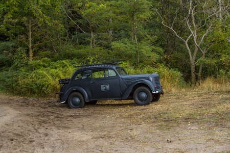 Historic German miliary vehicle. Opel Kadett model K38 used by the German army during the Second World War