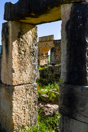 . Extensive complex of ruins of Roman city Volubilis - of ancient capital city of Mauritani. Meknes region, Morocco, North Africa