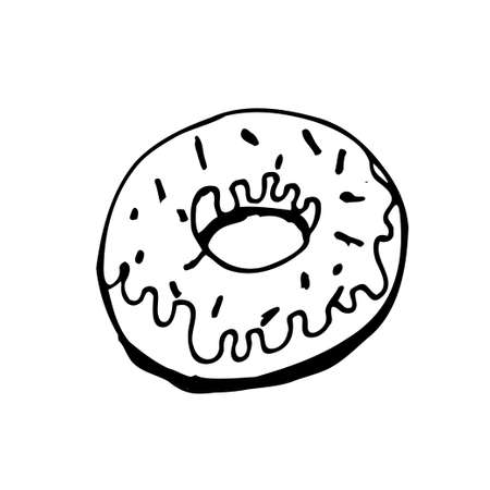 Vector donut with glaze isolated on the white background for menu cafe, bar, children food, restaurant